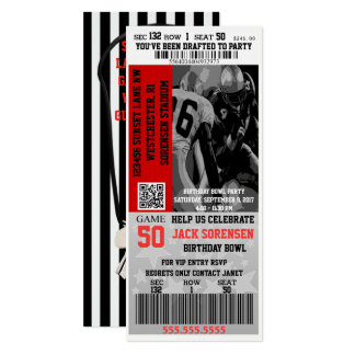Sports Theme Football Entry Ticket Party Card