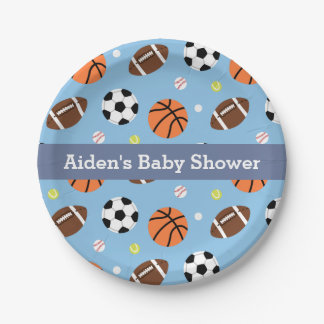 Sports Themed Baby Shower Party Supplies 7 Inch Paper Plate