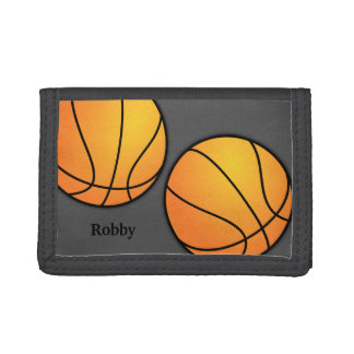 Sports Themed Gray Boys Custom Basketball Wallet