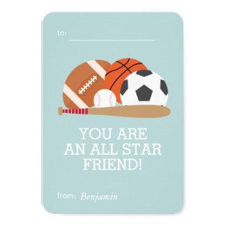Sports-Themed Kids Classroom Valentines 9 Cm X 13 Cm Invitation Card
