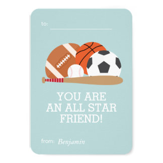 Sports-Themed Kids Classroom Valentines Card