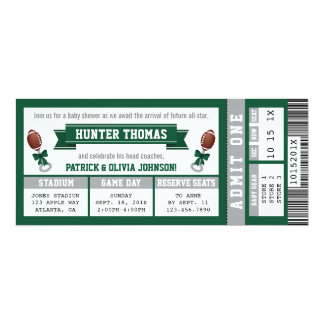 Sports Ticket Baby Shower Invitation, Hunter Green Card