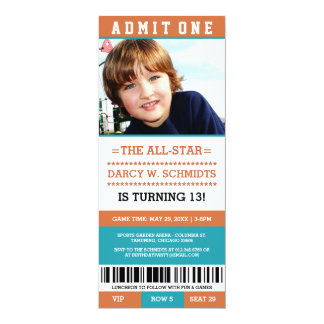 Sports Ticket Birthday Party Invites