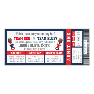 Sports Ticket Gender Reveal Invitation, Football 10 Cm X 24 Cm Invitation Card