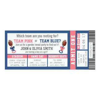 Sports Ticket Gender Reveal Invitation, Football Card