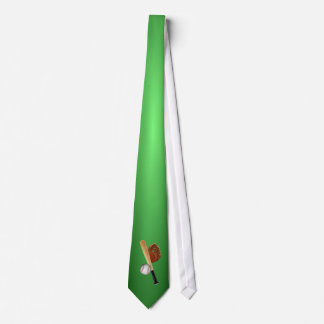Sports Tie - Baseball Design Green Background