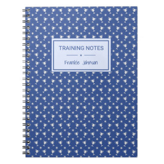 Sports trophy patterned blue training spiral notebook