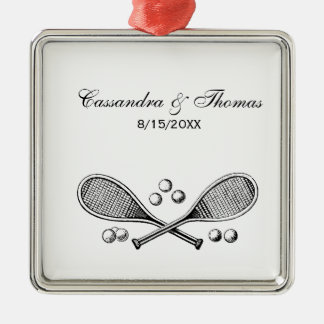 Sports Vintage Crossed Tennis Racket Tennis Balls Christmas Ornament