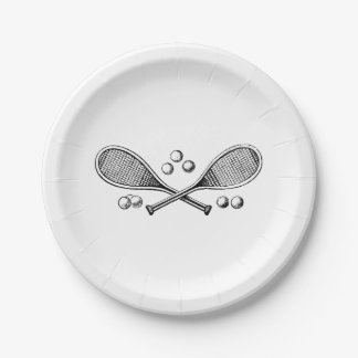 Sports Vintage Crossed Tennis Racquet Tennis Balls Paper Plate