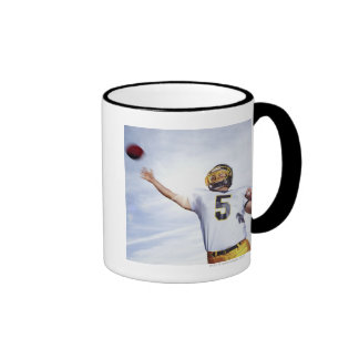 sportsman playing with rugby ball mug