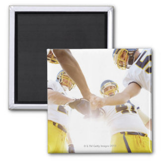 sportsmen standing with hands together square magnet