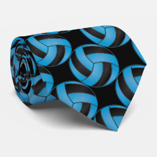 Sporty Baby Blue and Black Volleyball Tie