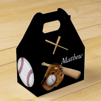 Sporty Baseball, Bats and Glove with Monogram Favour Box