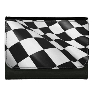Sporty Black White Chequered Flag Checkered Flag Wallet For Women