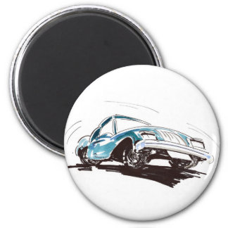Sporty Blue Car Magnet