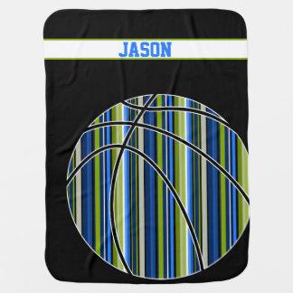 Sporty blue green stripe basketball baby blanket