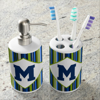 Sporty Blue Green Stripe Monogram Bath Set