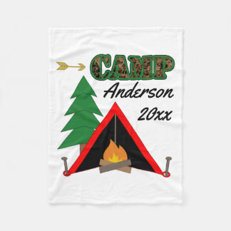 Sporty Camping Campfire Tent Name Fleece Blanket