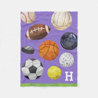 Sporty Cluster Monogram Purple Fleece Blanket