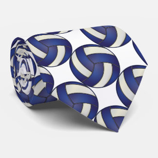 Sporty Dark Blue and White Volleyball Tie