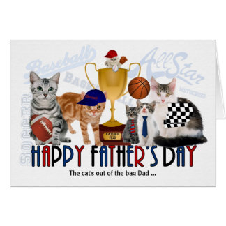 Sporty Felines for Father's Day Custom Greeting Card
