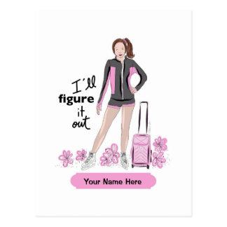 Sporty Figure Skate Girl With Bag Postcard