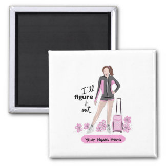 Sporty Figure Skate Girl With Bag Square Magnet