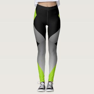 Sporty Geometric Chic Dancers Leggings Lime Black