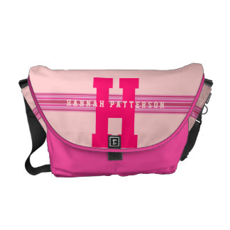 Sporty Girl Bold Pink Monogram Stripe Messenger Bag