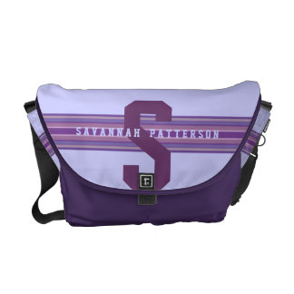 Sporty Girl Bold Purple Monogram Stripe Commuter Bags