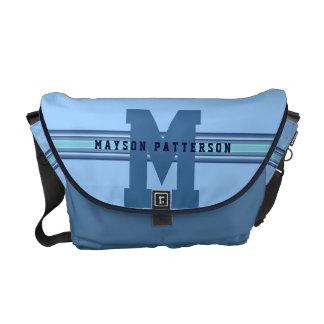 Sporty Girl or Boy Bold Blue Monogram Stripe Messenger Bag