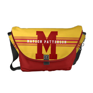 Sporty Girl or Boy Bold Red Gold Monogram Stripe Courier Bag