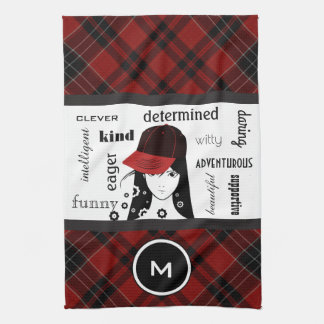 Sporty & Girly Cool Red Plaid Sports/Gym Towel