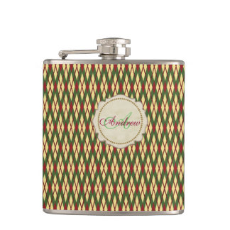 Sporty Green Burgundy Argyle Monogram Flask