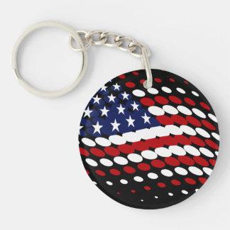 Sporty Halftone USA American Flag Keychain