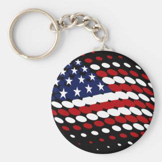 Sporty Halftone USA American Flag Key Chains