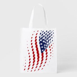 Sporty Halftone USA American Flag Reusable Grocery Bag