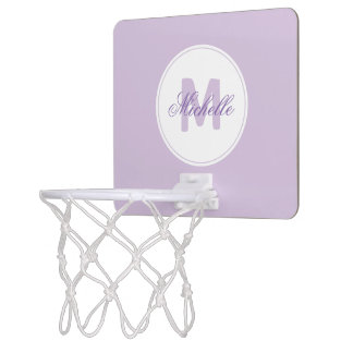 * Sporty Lilac Name and Monogrammed Medallion Mini Basketball Hoop