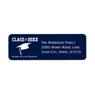 Sporty Navy Blue Graduation Cap Class of 20XX Return Address Label