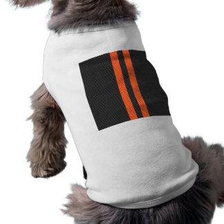 Sporty Orange Stripes on Carbon Fiber Like Print Sleeveless Dog Shirt