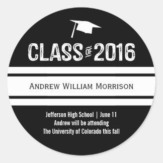 Sporty Prep Graduation Cap Class of 2016 Round Sticker