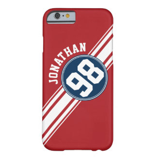 Sporty Red, White and Blue Stripes Name Number Barely There iPhone 6 Case