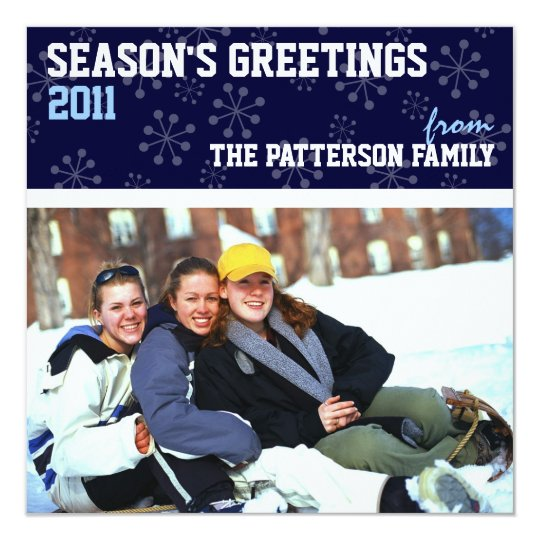 Sporty Seasons Greetings Holiday Photo Card Blue
