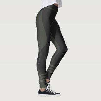 Sporty Stripe Fit Leggings Black on Green