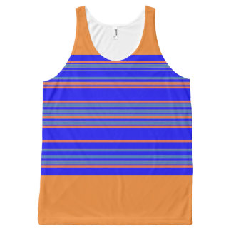 Sporty-Stripes-Blue-Orange(c)-Tank-Top All-Over Print Tank Top