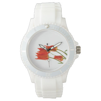 Sporty watch White Silicone Strap red tulips