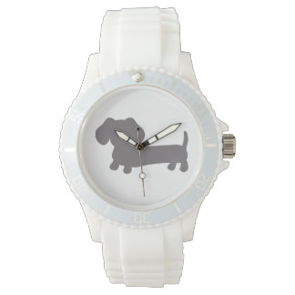 Sporty White Silicone Wiener Dog Watch