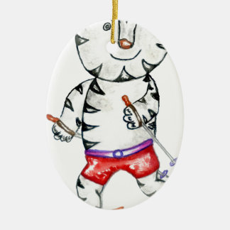 Sporty White Tiger Christmas Ornament