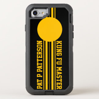 Sporty Yellow Stripe Name Template OtterBox Defender iPhone 8/7 Case