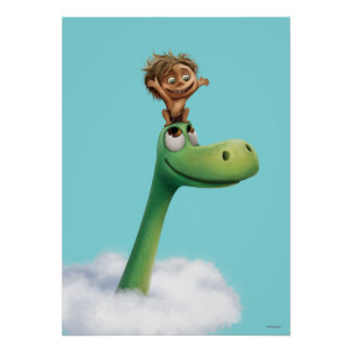 Spot And Arlo Head In Clouds Poster